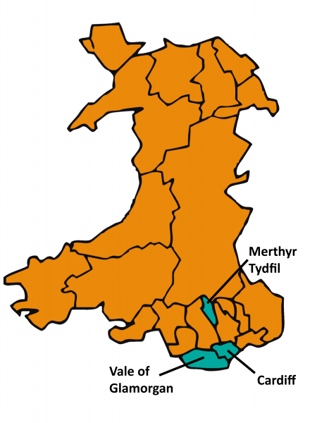Map of Wales highlighting Cardiff, the Vale of Glamorgan and Merthyr Tydfil