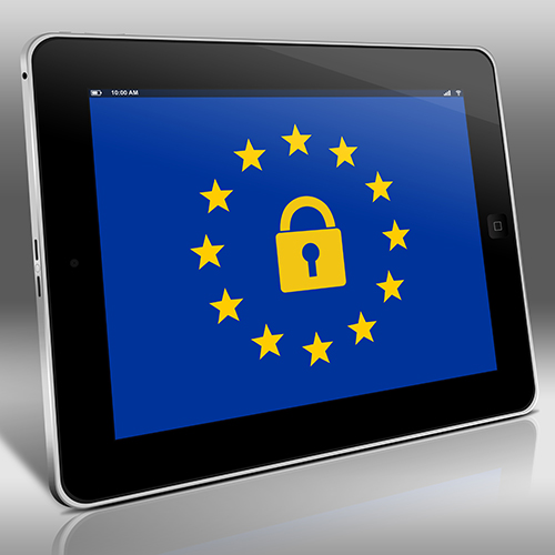 The EU flag on a tablet with a padlock in the centre