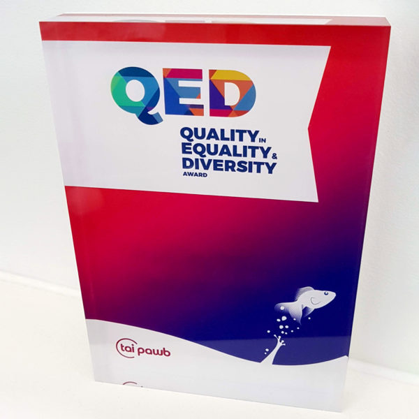 A colourful rectangular trophy with the QED logo